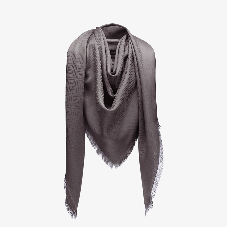 FENDI FF SHAWL - Grey silk and jacquard wool shawl - view 2 detail