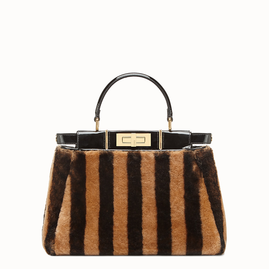 FENDI PEEKABOO ICONIC MEDIUM - Multicolour sheepskin and vinyl bag - view 3 detail