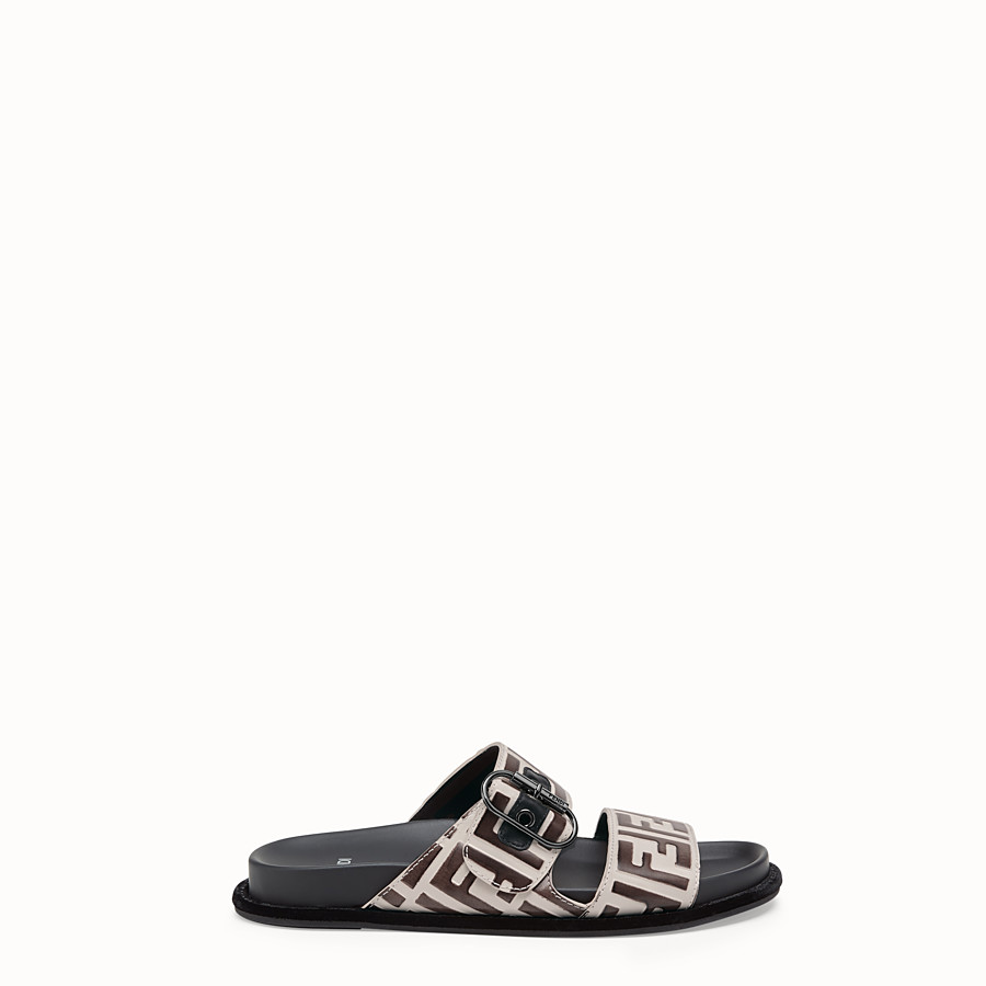 FENDI SLIDES - White leather slides - view 1 detail