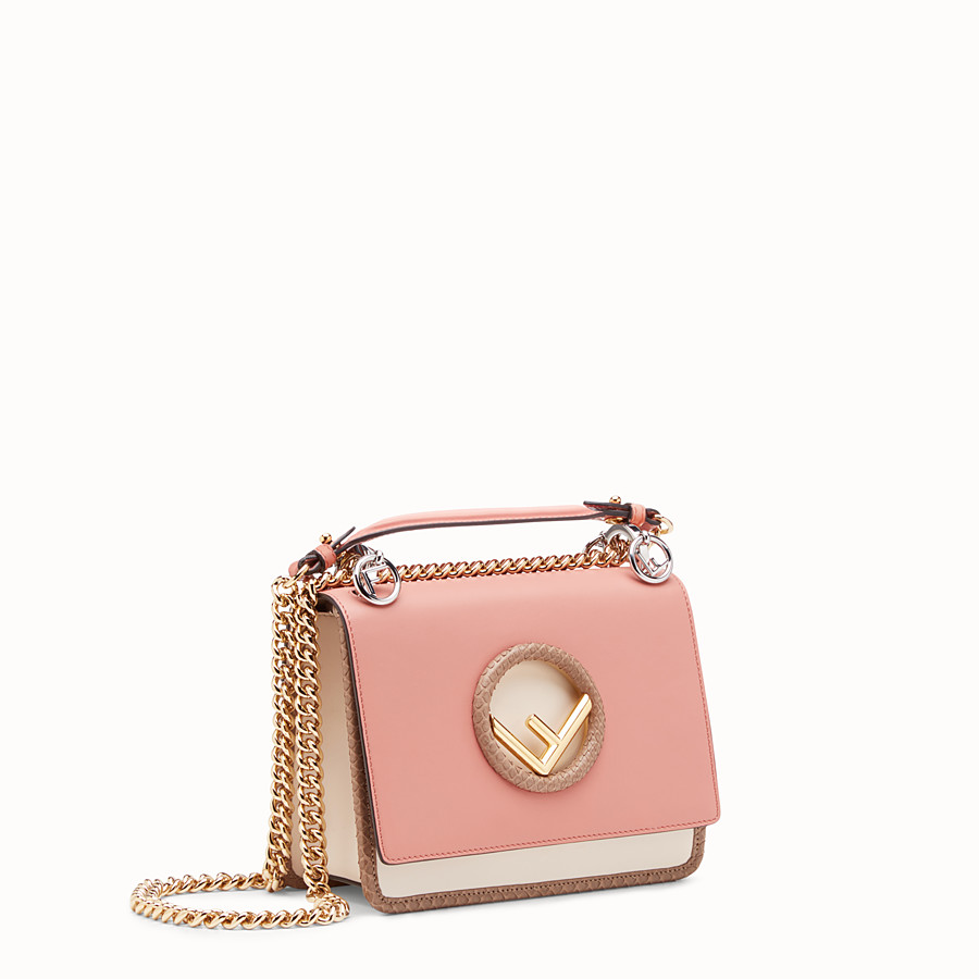 FENDI KAN I LOGO SMALL - Pink leather mini-bag - view 2 detail