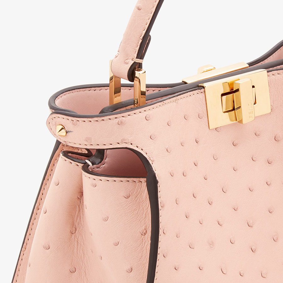 FENDI PEEKABOO ICONIC ESSENTIALLY - Pink ostrich leather bag - view 5 detail