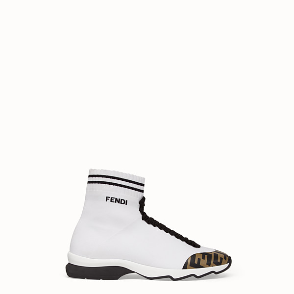 FENDI SNEAKERS - White fabric sneaker boots - view 1 small thumbnail