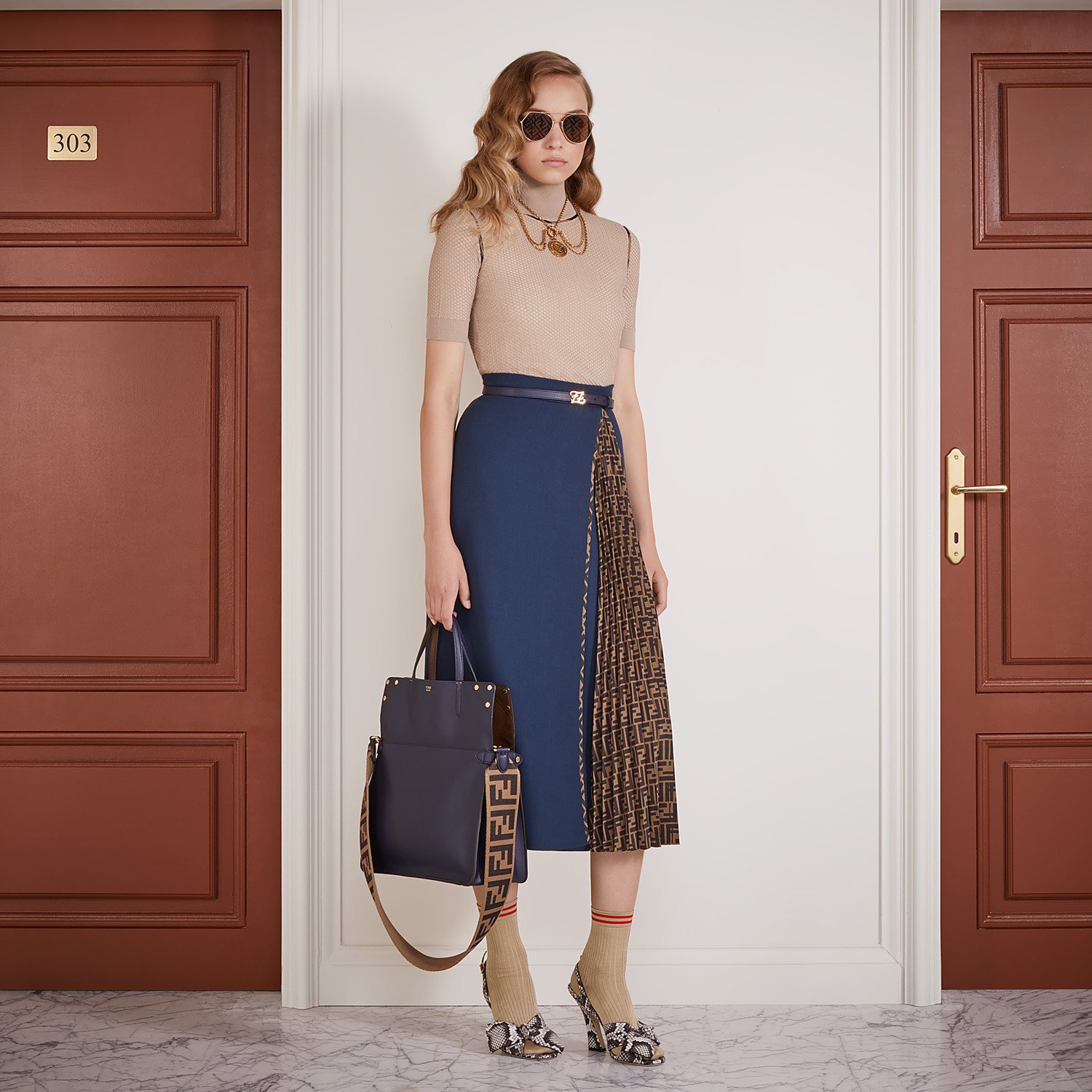 FENDI SKIRT - Blue wool skirt - view 4 detail