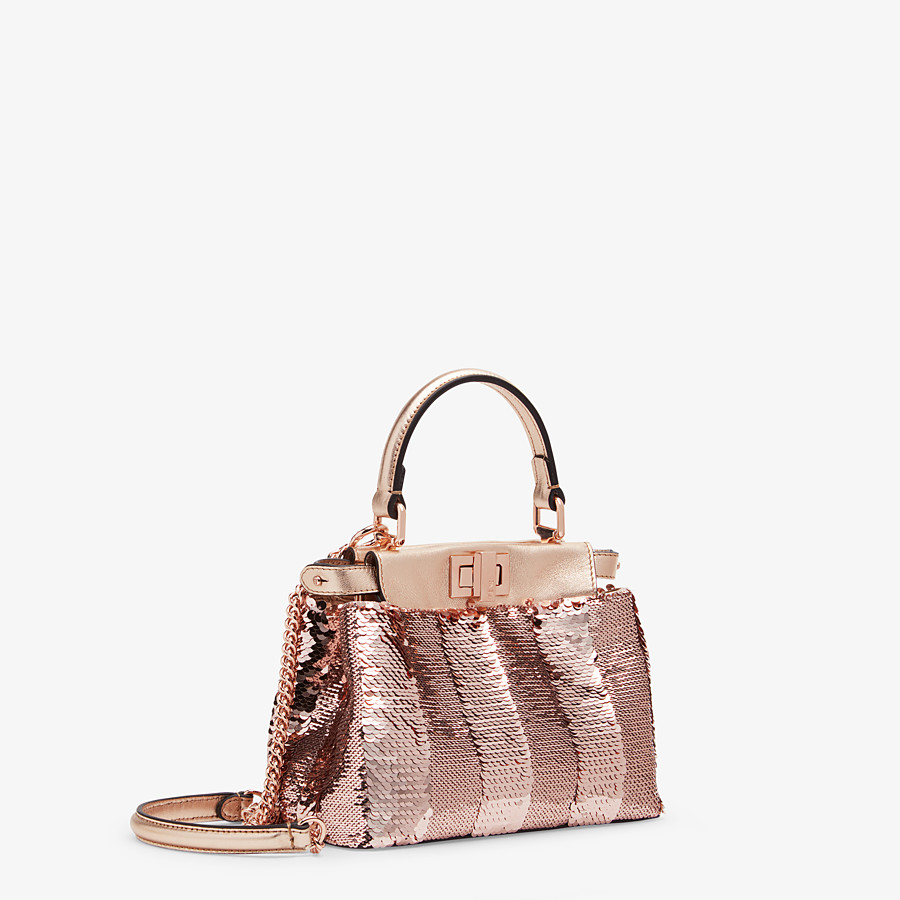 FENDI PEEKABOO ICONIC XS - Pink leather mini-bag - view 2 detail