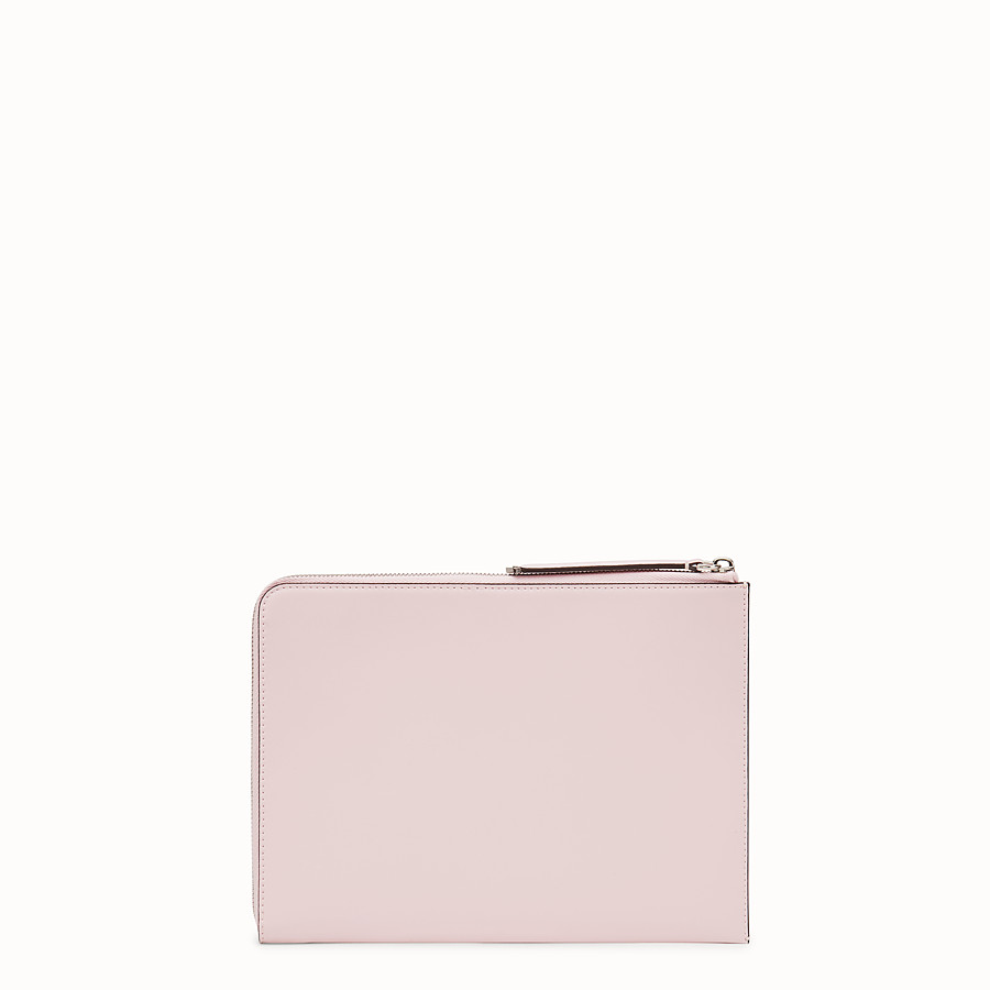 FENDI FLAT CLUTCH - Pink leather pouch - view 3 detail