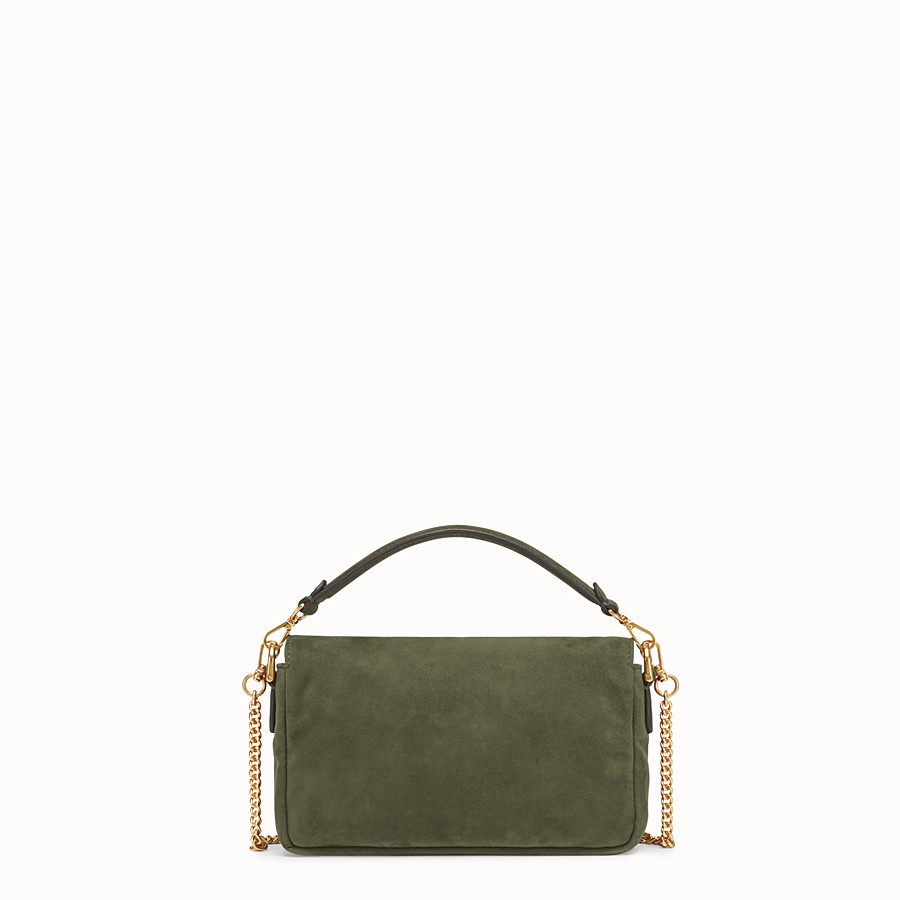 FENDI MINI BAGUETTE - Green suede bag - view 4 detail