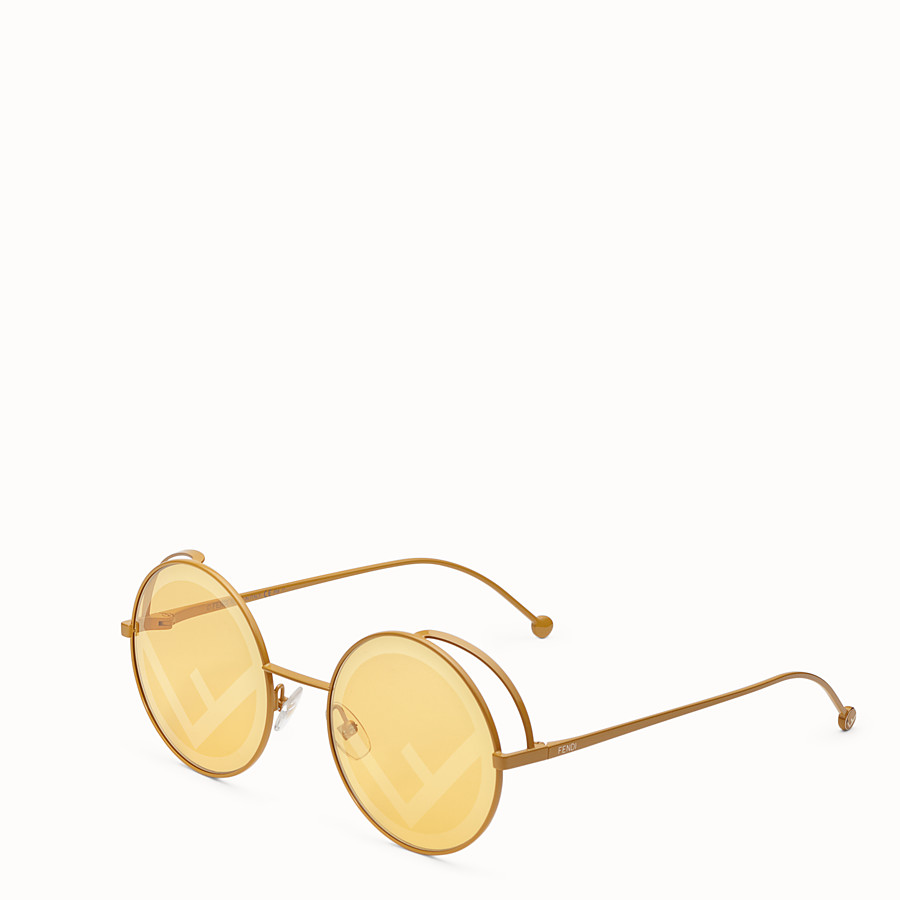 FENDI FENDIRAMA - Yellow sunglasses - view 2 detail