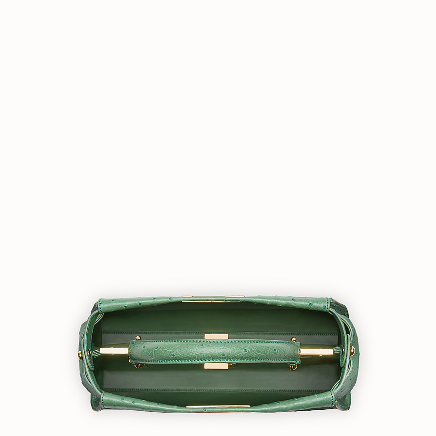 FENDI PEEKABOO REGULAR - Emerald green ostrich leather handbag. - view 4 detail