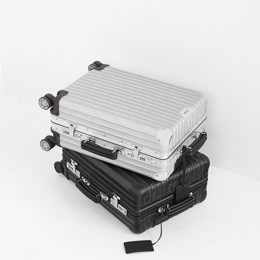 FENDI CABIN SIZE TROLLEY - Aluminum trolley case with leather details - view 6 detail