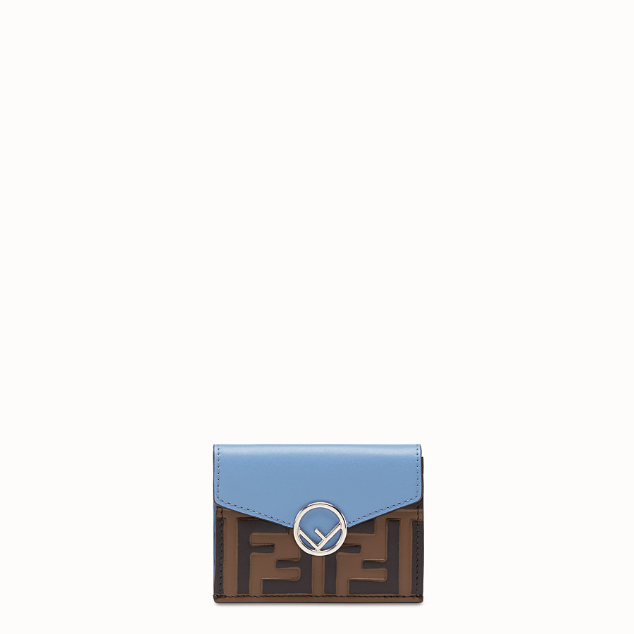 FENDI MICRO TRIFOLD - Pale blue leather wallet - view 1 detail