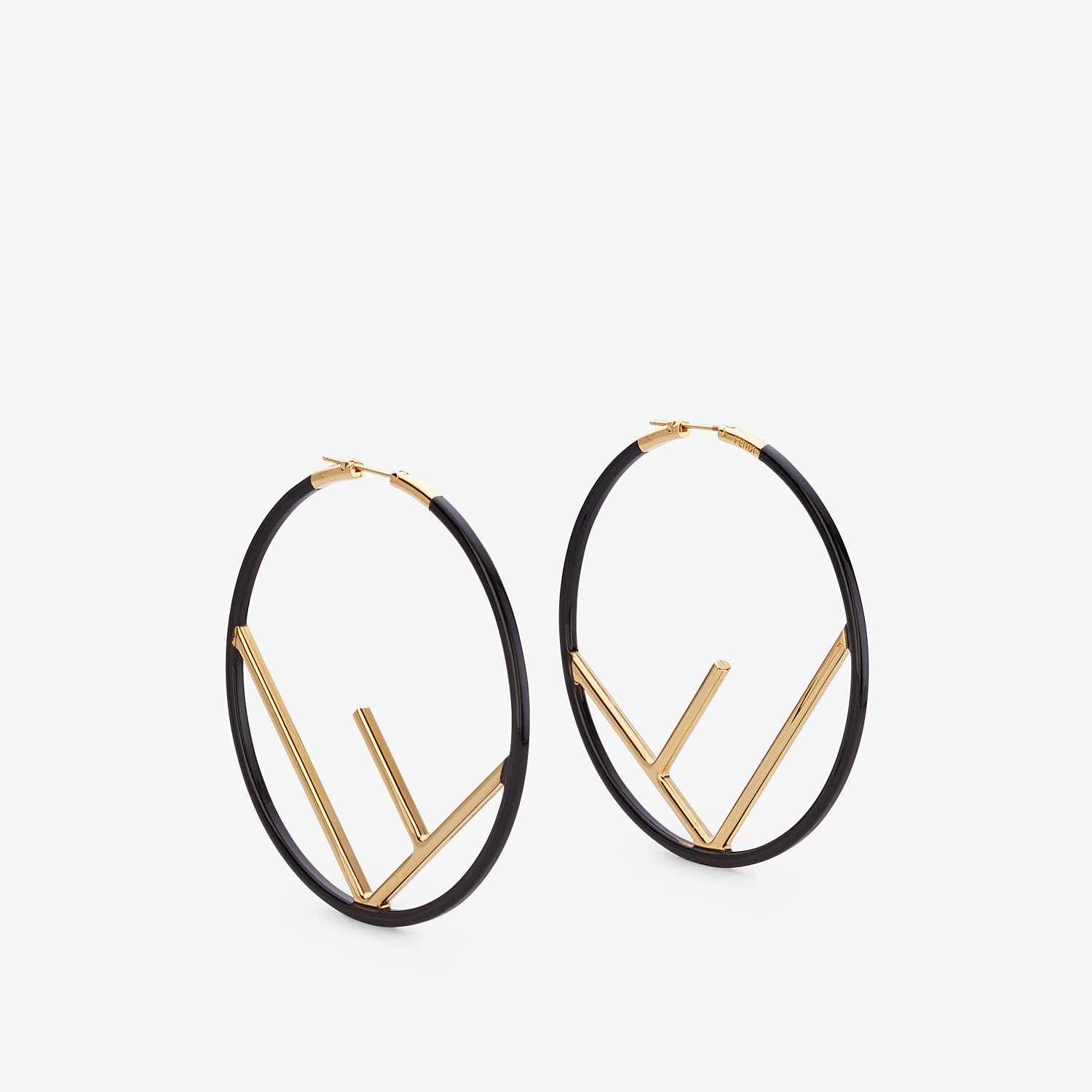 FENDI F IS FENDI EARRINGS - Gold and black colored earrings - view 1 detail