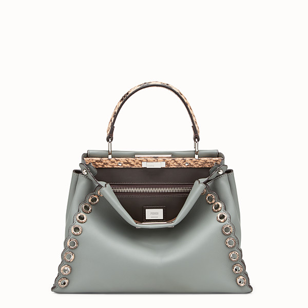FENDI PEEKABOO REGULAR - Green leather bag with exotic details - view 1 small thumbnail