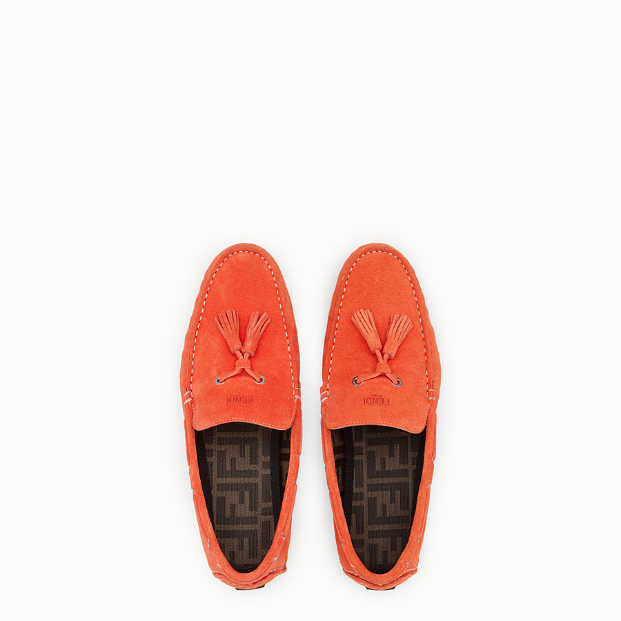 FENDI LOAFERS - Orange leather drivers - view 4 detail