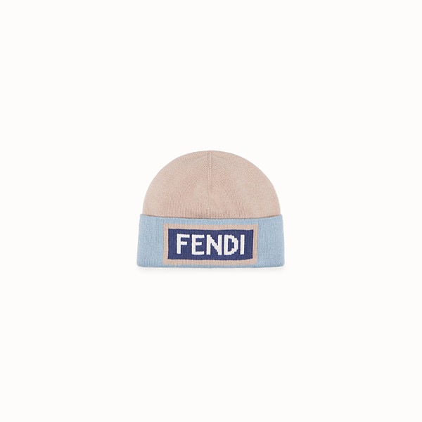 FENDI HAT - Beige and light blue wool hat - view 1 small thumbnail