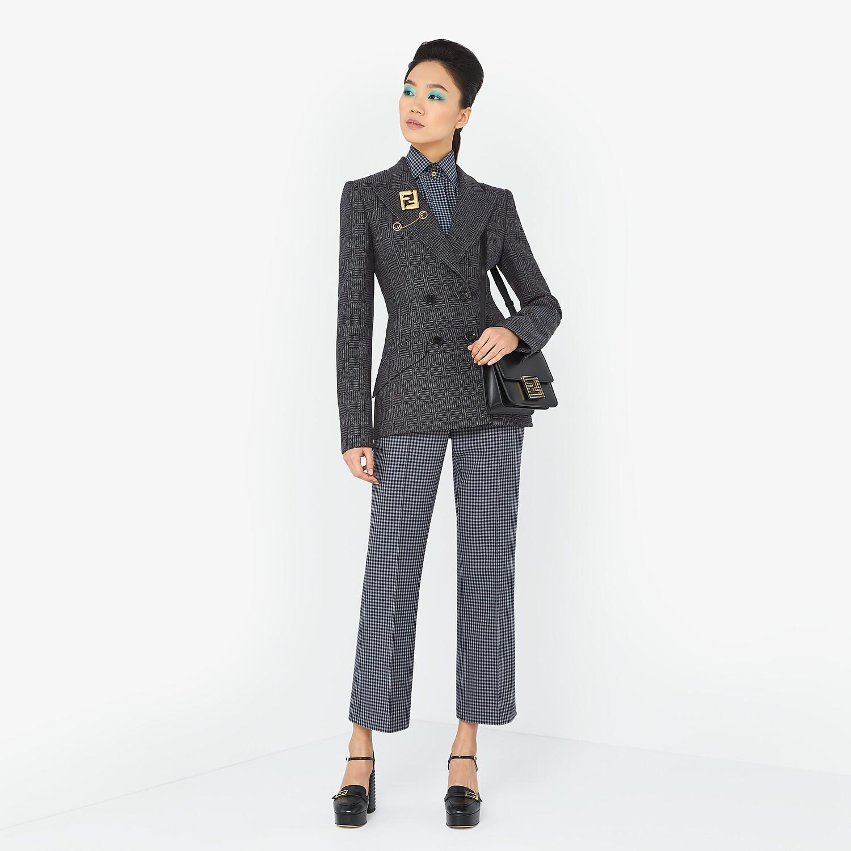 FENDI TROUSERS - Vichy wool trousers - view 4 detail