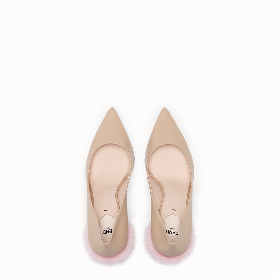 FENDI COURT SHOES - Beige leather court shoes - view 4 detail