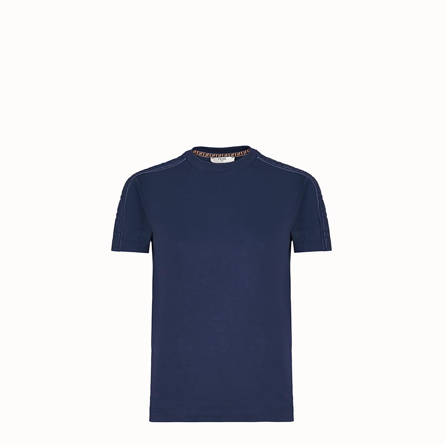 FENDI T-SHIRT - Blue cotton jersey T-shirt - view 1 detail