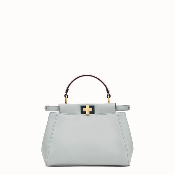FENDI PEEKABOO MINI - Borsa in pelle grigia - vista 1 thumbnail piccola