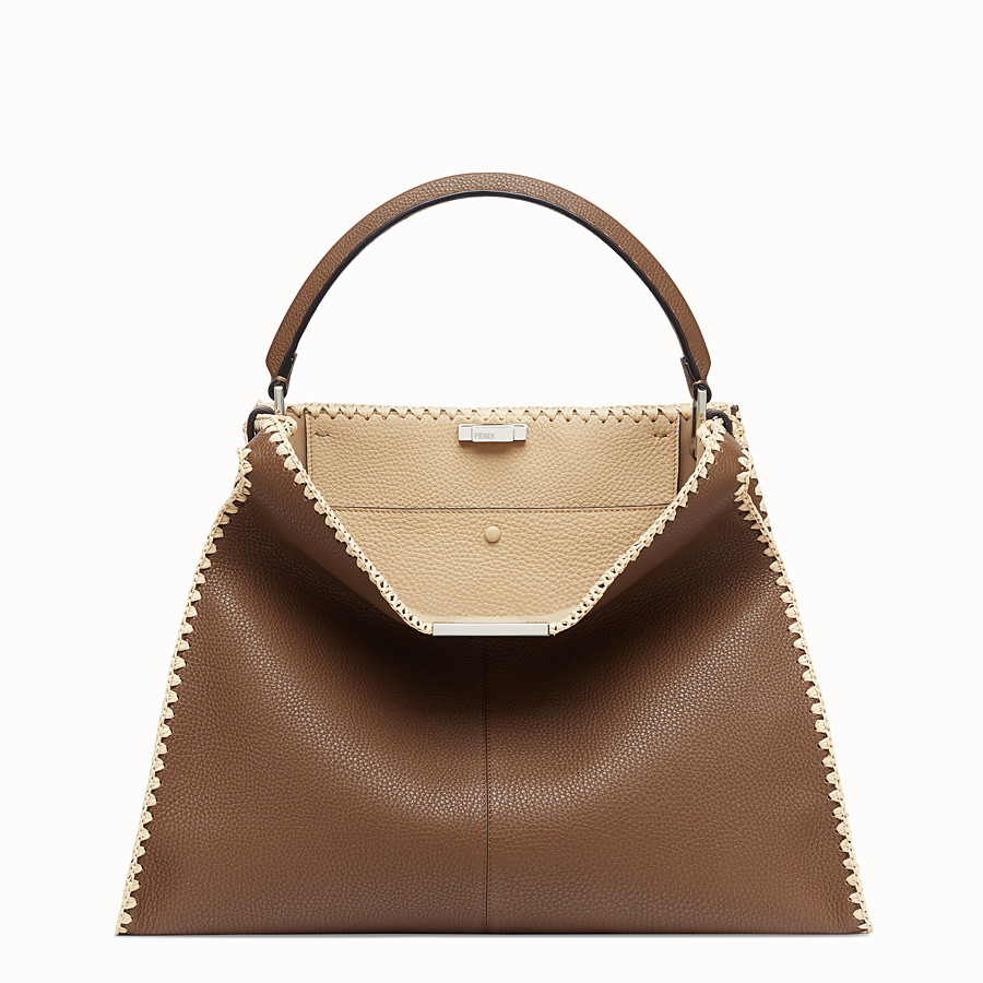FENDI PEEKABOO X-LITE LARGE - Brown leather bag - view 3 detail