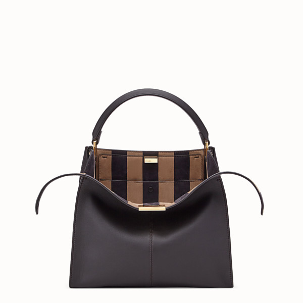 FENDI PEEKABOO X-LITE MEDIUM - Brown leather bag - view 1 small thumbnail