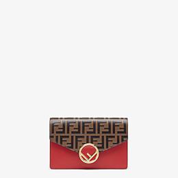 FENDI PORTEMONNAIE MIT TRAGEKETTE - Mini-Tasche aus Leder in Rot - view 1 thumbnail