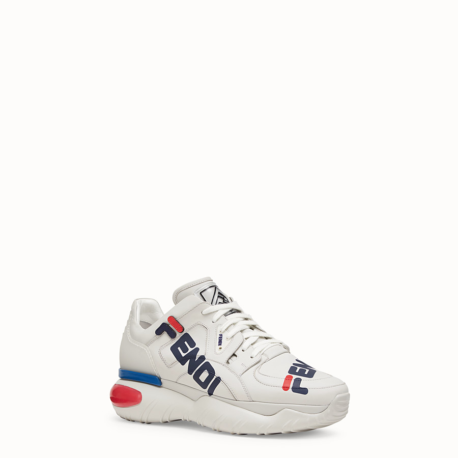 FENDI SNEAKERS - White nappa leather low tops - view 2 detail