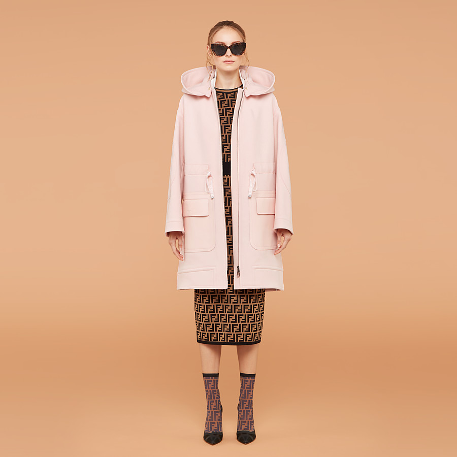 FENDI OVERCOAT - Pink wool parka - view 4 detail