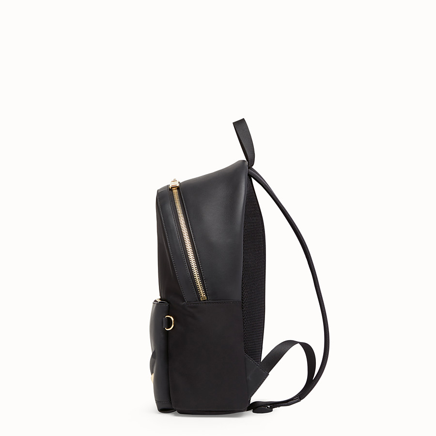 FENDI BACKPACK - Nylon and black leather backpack - view 2 detail