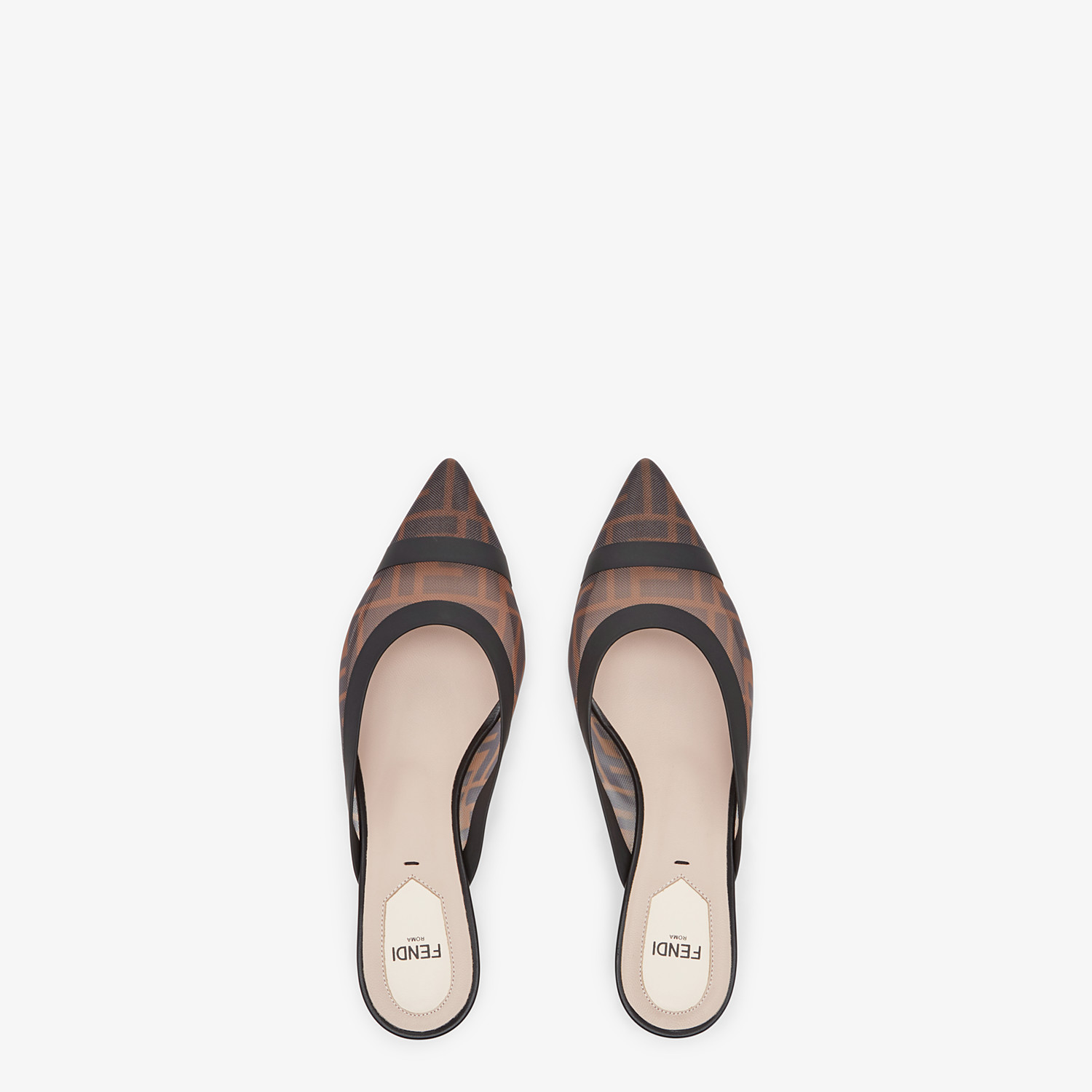 FENDI SLINGBACKS - Brown mesh and black leather colibrì - view 4 detail