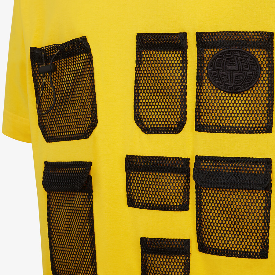FENDI T-SHIRT - Yellow cotton T-shirt - view 3 detail