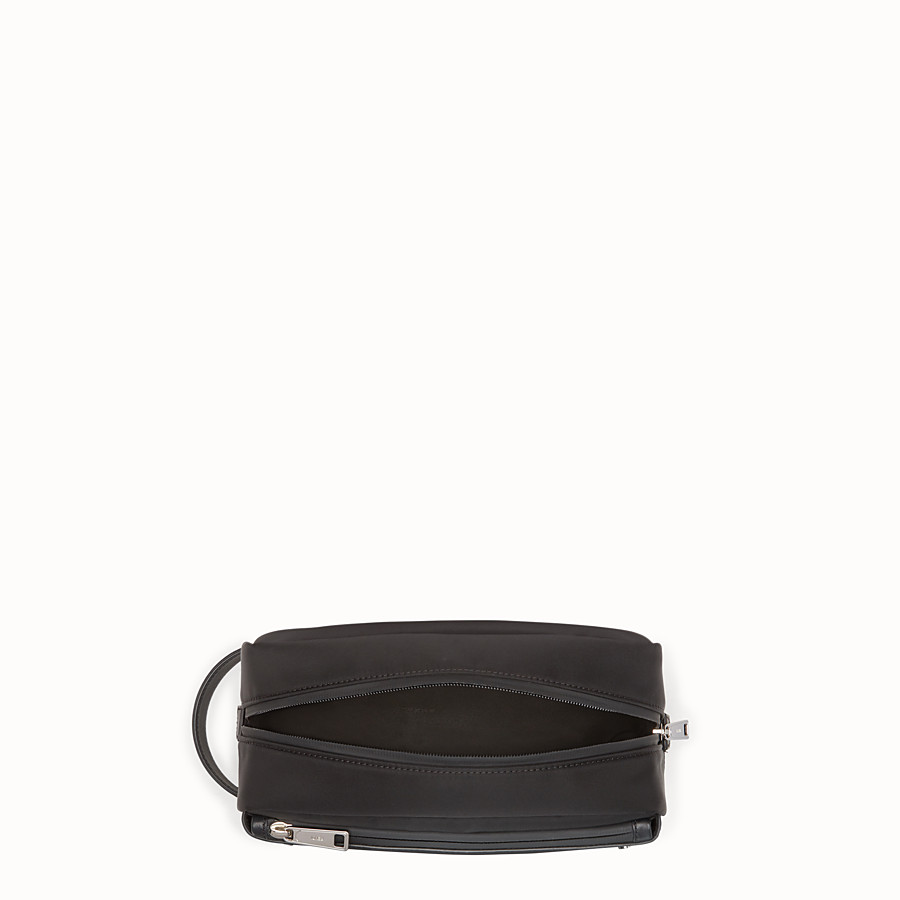 FENDI TOILETRY CASE - Black nylon and leather case - view 3 detail