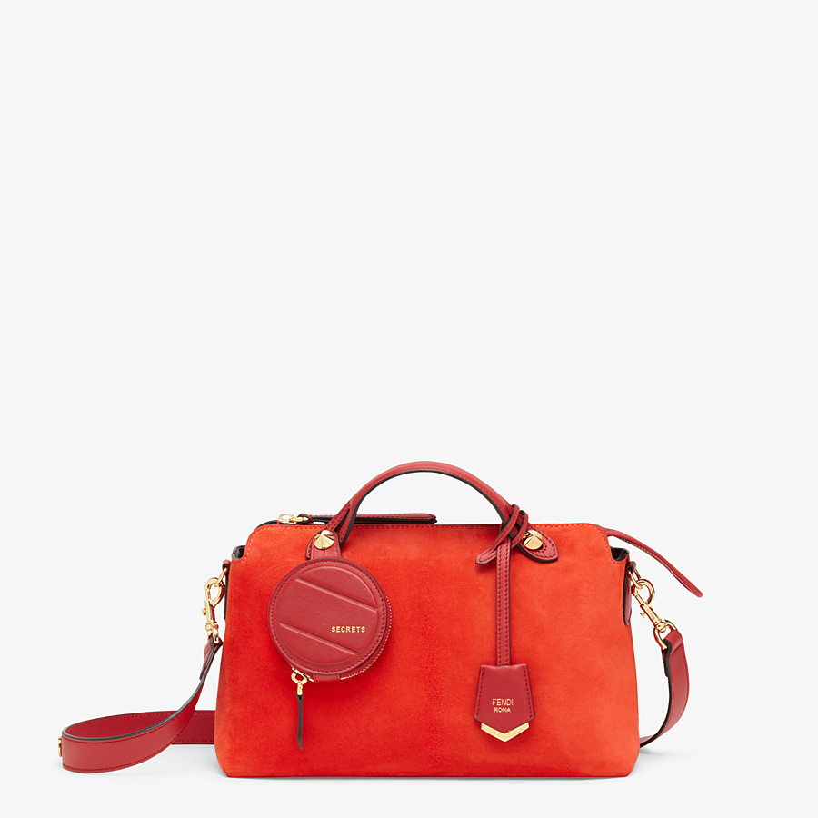 FENDI BY THE WAY MEDIUM - Red suede Boston bag - view 1 detail