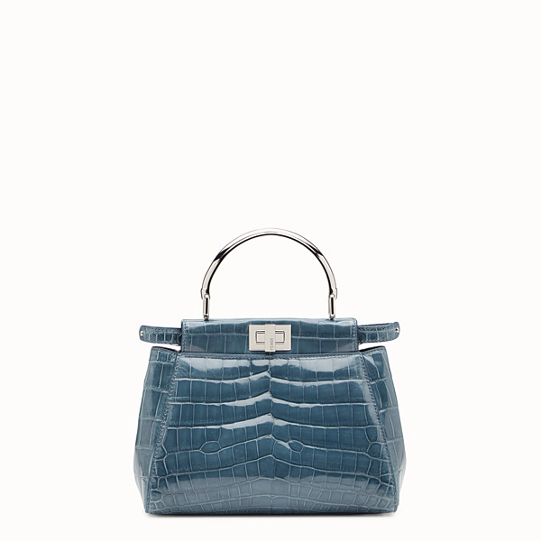 FENDI PEEKABOO MINI - Blue crocodile bag - view 1 small thumbnail