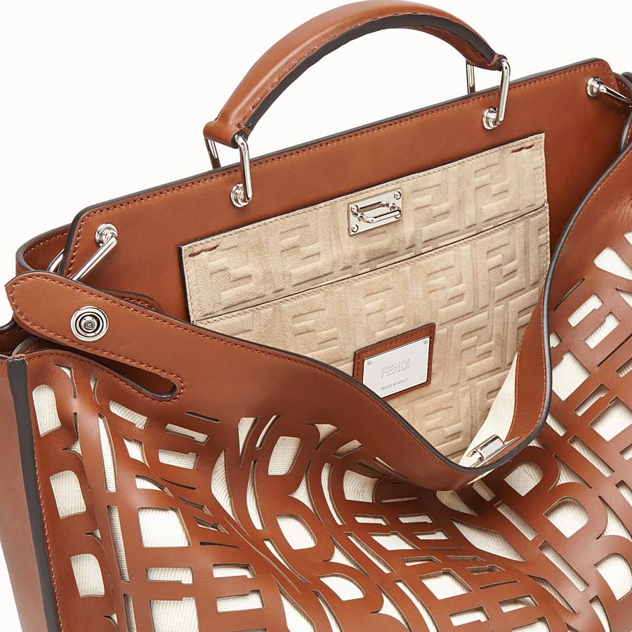 FENDI PEEKABOO ICONIC ESSENTIAL - Brown leather bag - view 5 detail