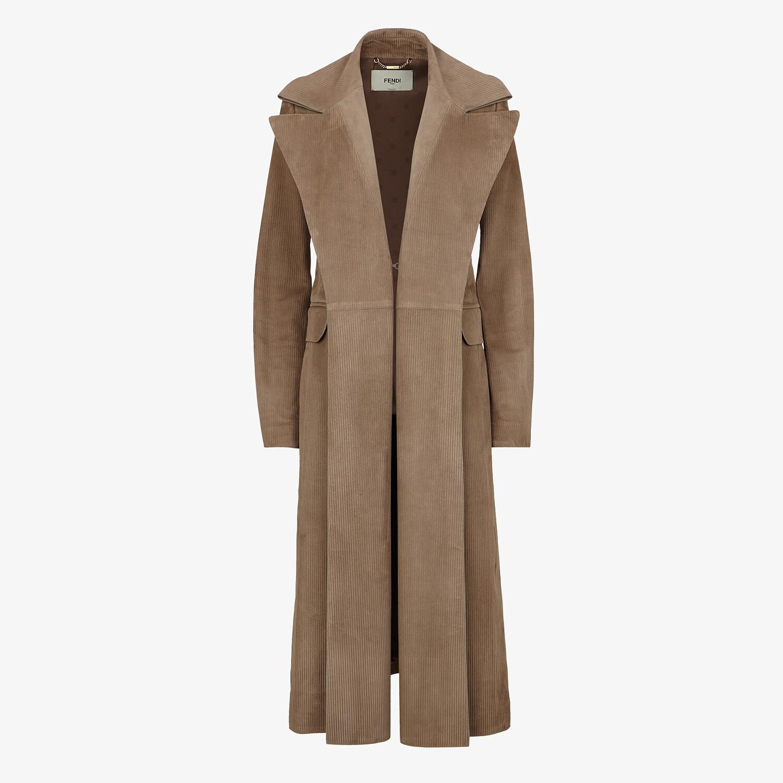 FENDI OVERCOAT - Brown suede overcoat - view 1 detail