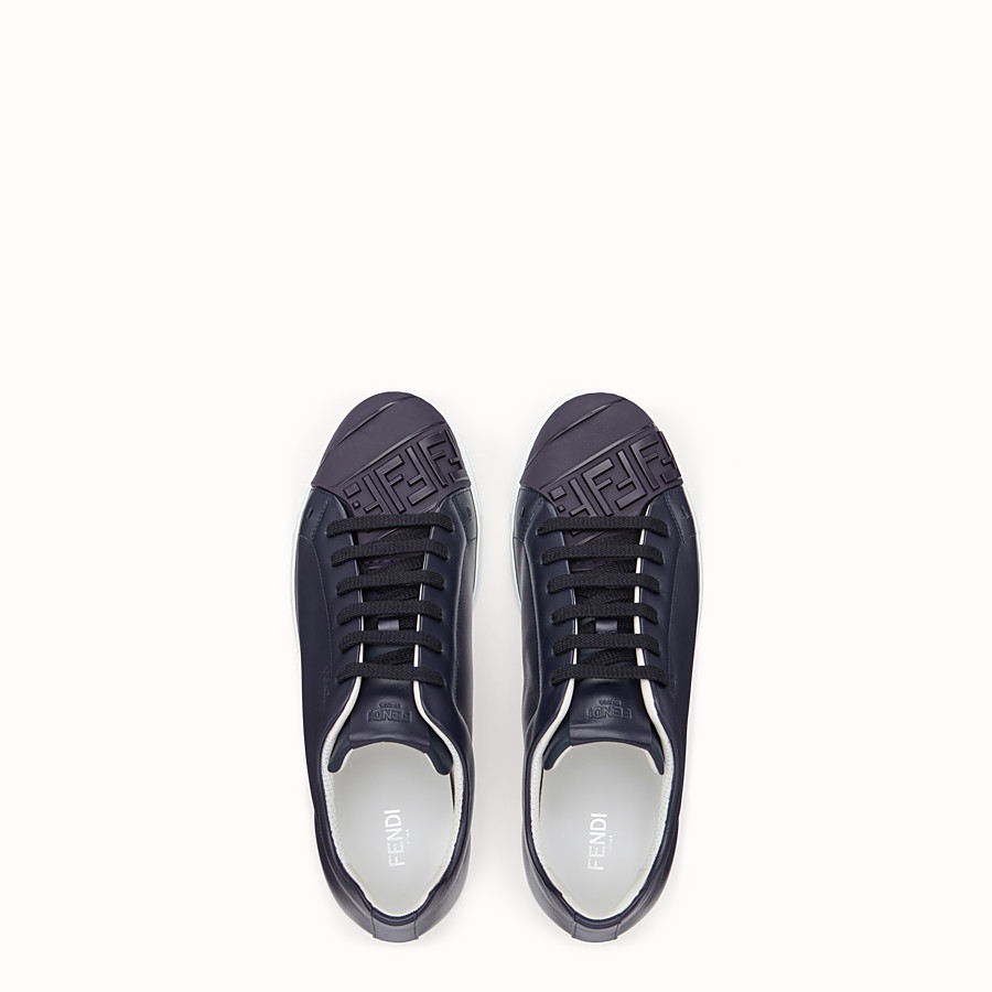FENDI SNEAKERS - Blue leather low-tops - view 4 detail