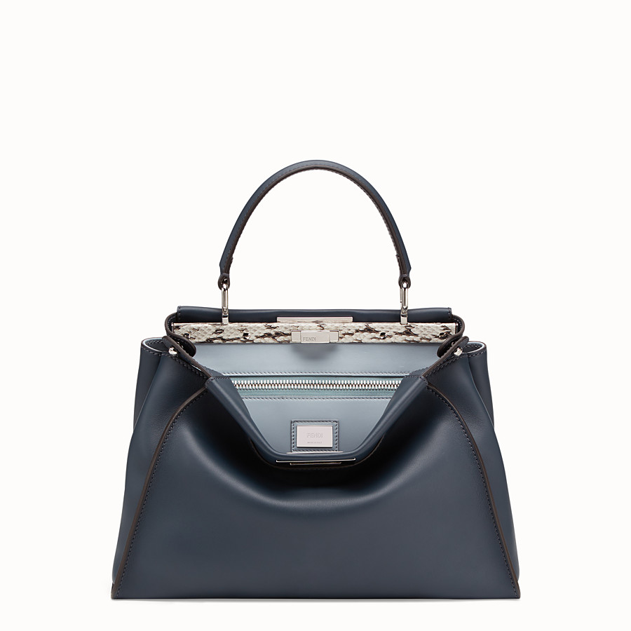 FENDI PEEKABOO REGULAR - Blue leather bag with exotic details - view 1 detail