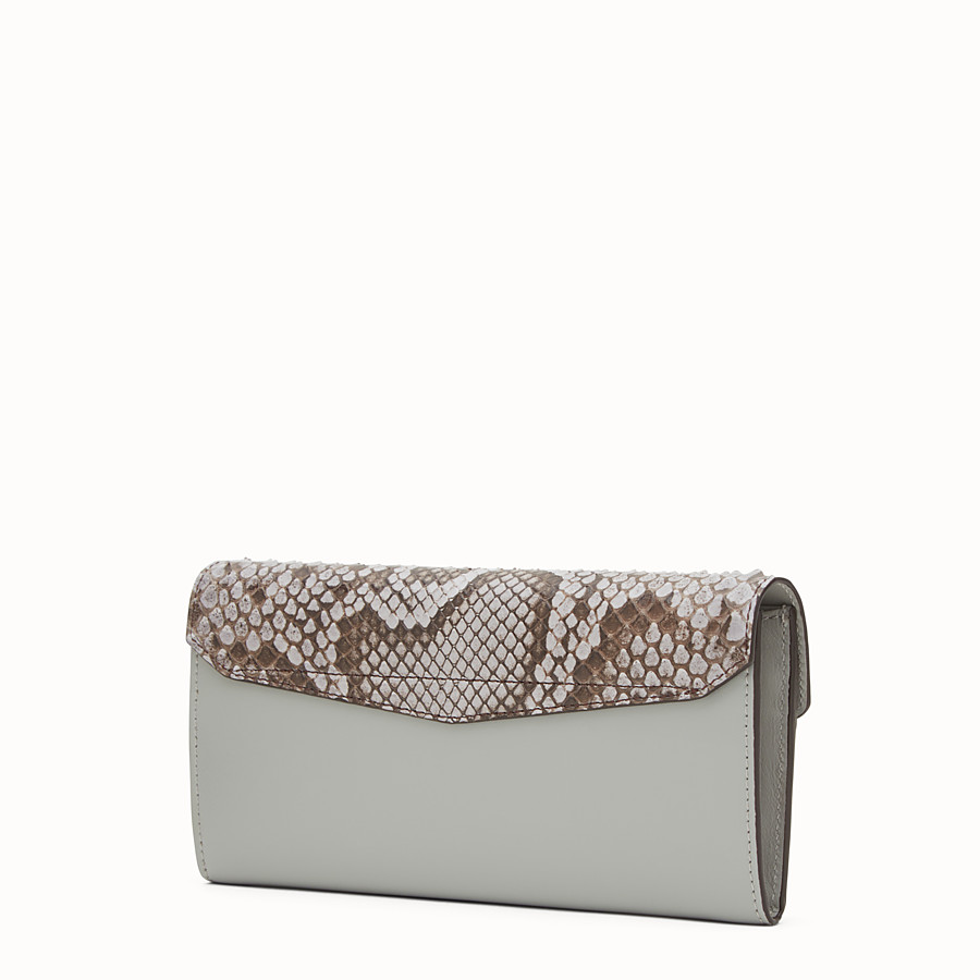 FENDI CONTINENTAL - Grey leather wallet, exotic details - view 2 detail
