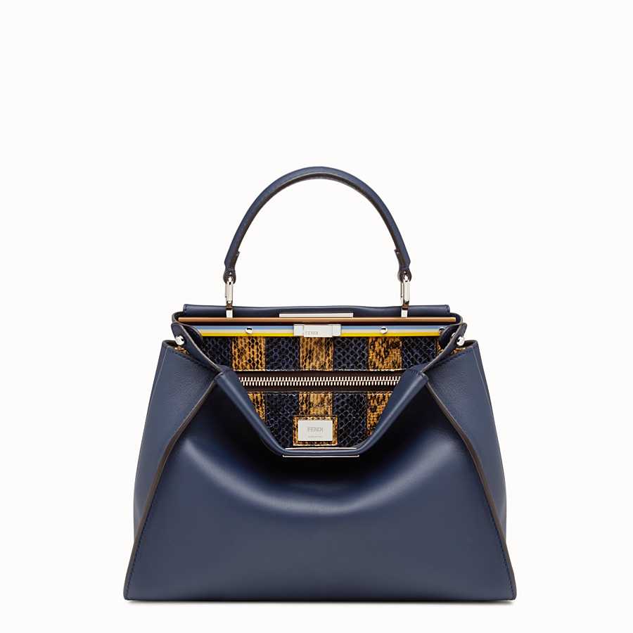 FENDI PEEKABOO REGULAR - Blue leather handbag - view 1 detail