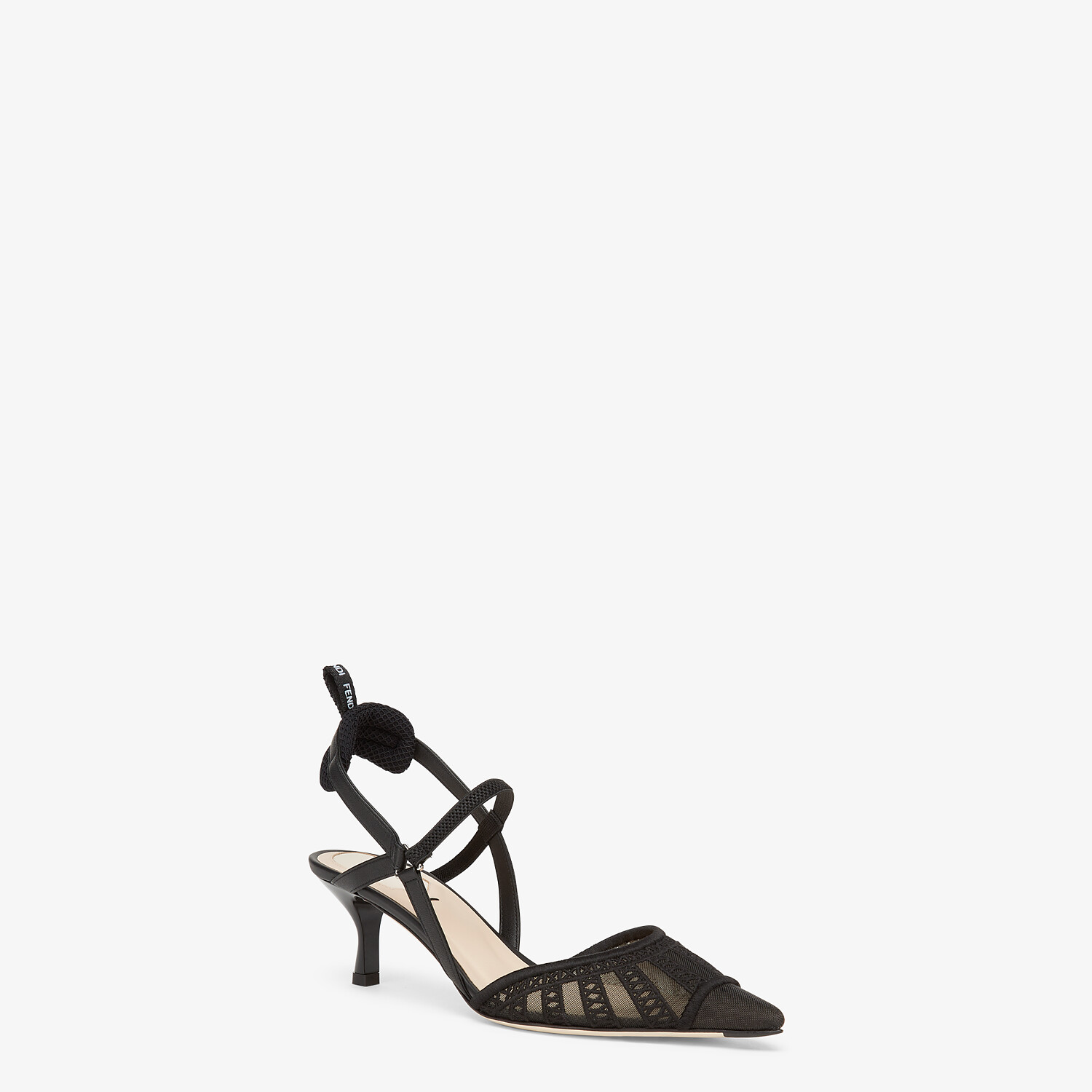 FENDI COLIBRI LITE SLINGBACKS - Black micro-mesh slingbacks - view 2 detail