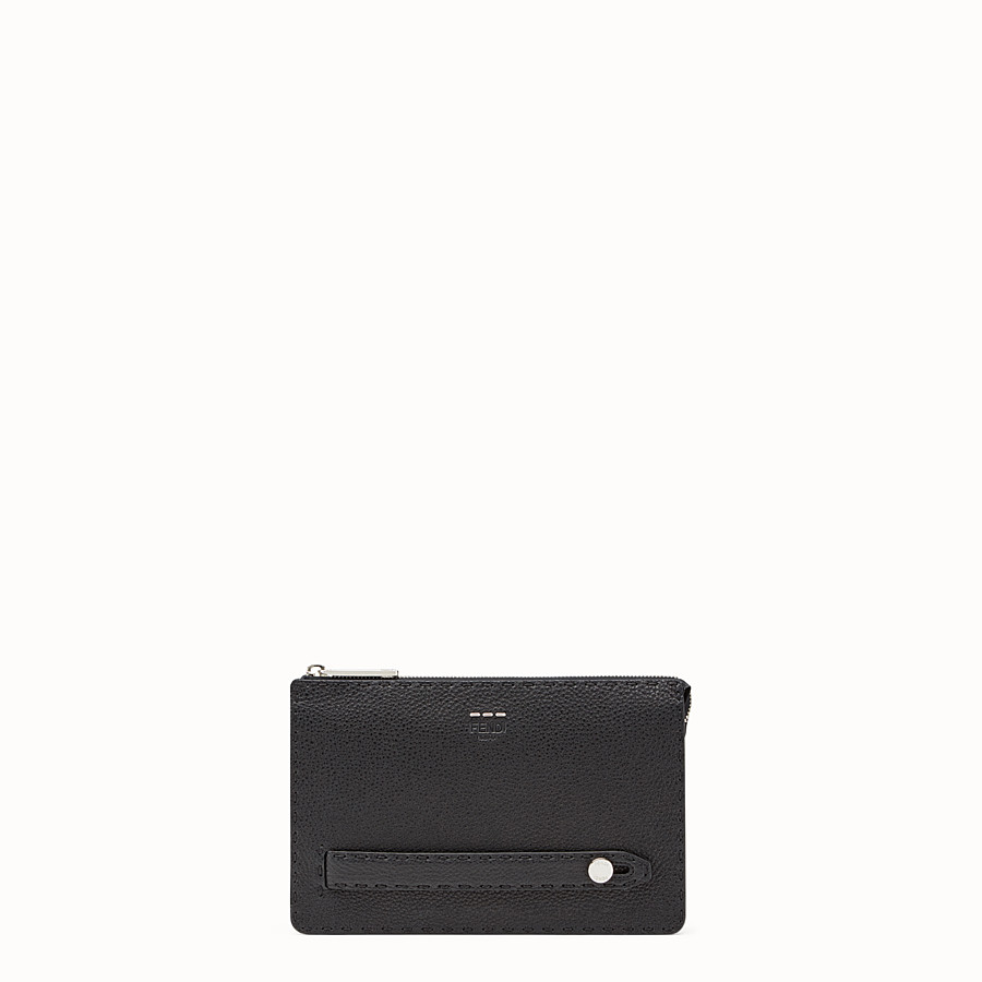 FENDI CLUTCH - Black leather clutch - view 1 detail