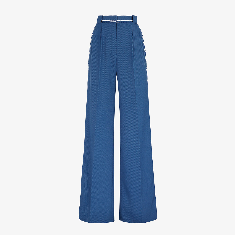 FENDI TROUSERS - Blue wool trousers - view 1 detail