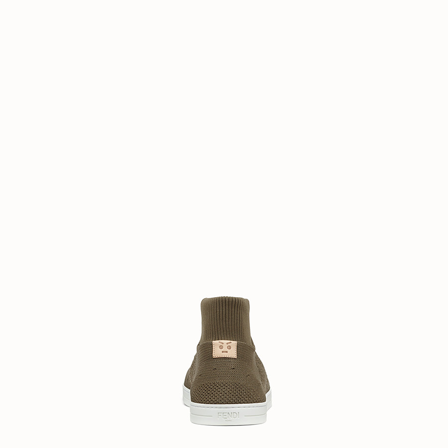 FENDI SNEAKER - Knitted mud-brown slip-ons - view 3 detail