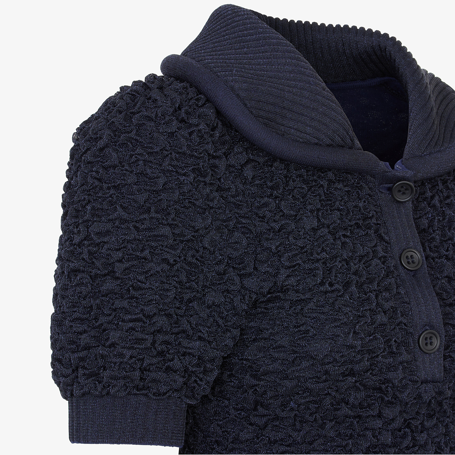 FENDI PULLOVER - Blue viscose polo shirt - view 3 detail