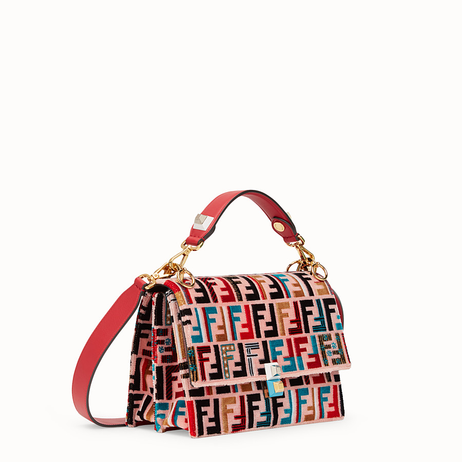 FENDI KAN I - Red leather and silk bag - view 2 detail