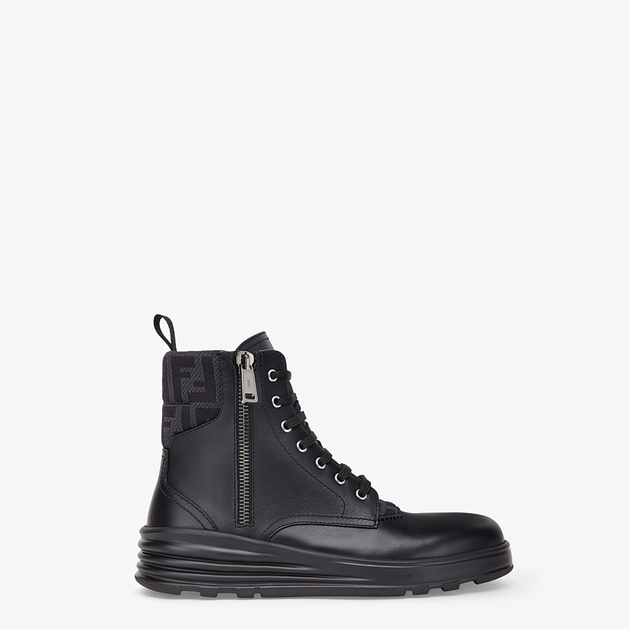 FENDI ANKLE BOOT - Black leather biker boots - view 1 detail