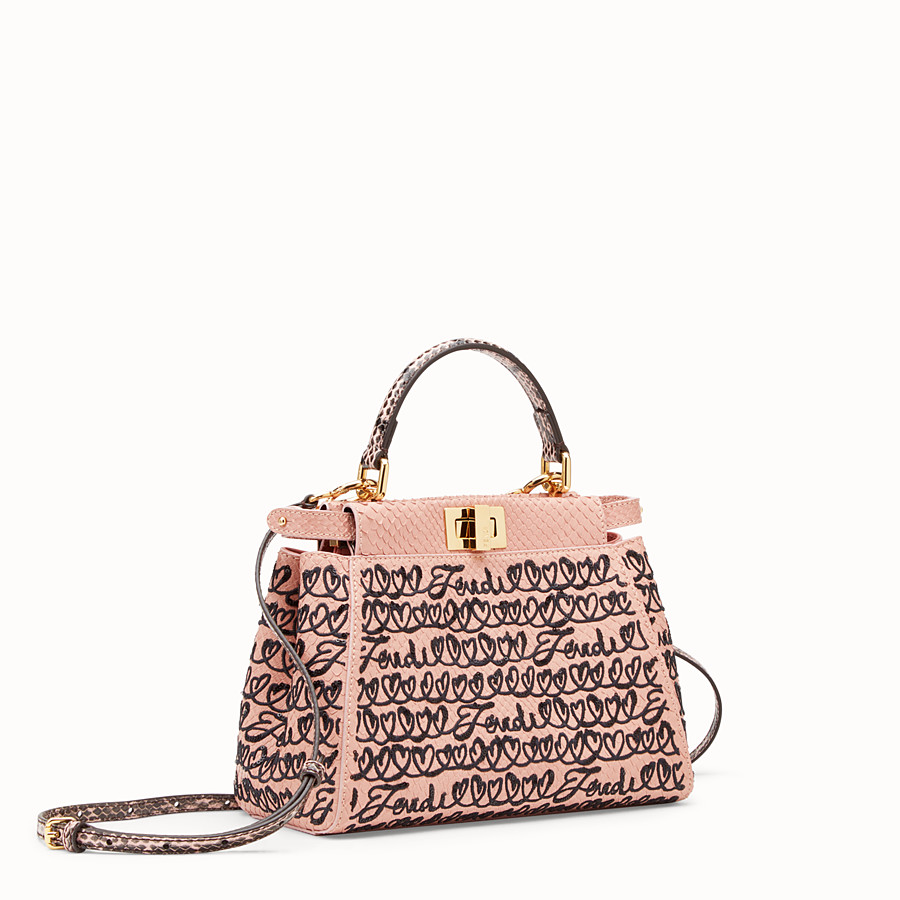 FENDI PEEKABOO MINI - Pink python leather bag - view 2 detail