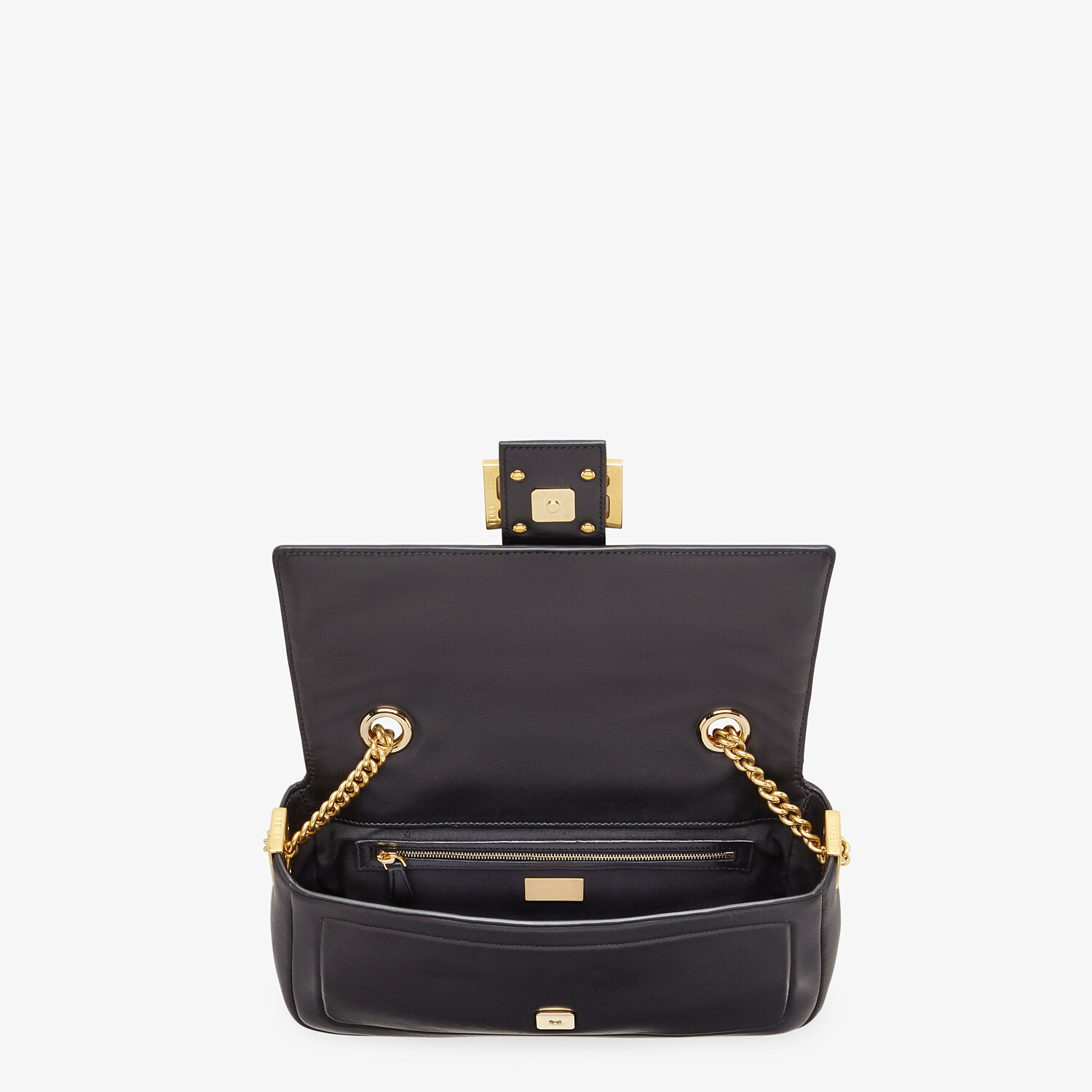 FENDI BAGUETTE CHAIN - Black nappa leather bag - view 5 detail