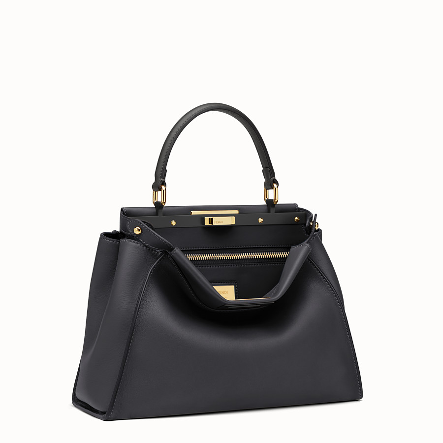 FENDI PEEKABOO REGULAR - Black leather handbag - view 3 detail