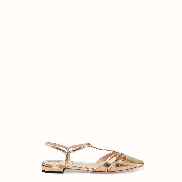 FENDI SANDALS - Sandals in metallised gold leather - view 1 small thumbnail